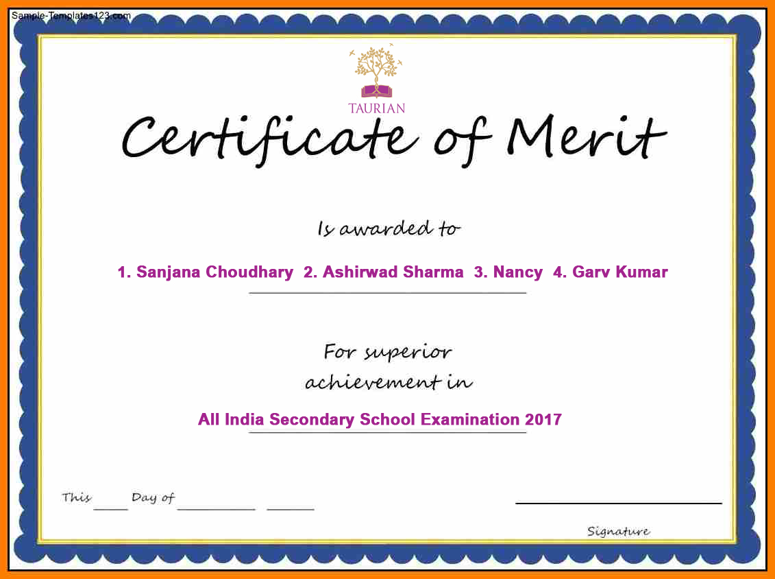 cbse awards certificate of merit to 4 taurian students